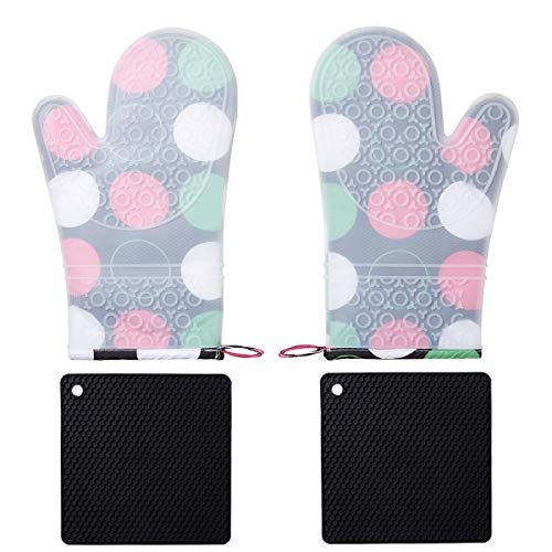 - BALOPIVE Silicone Heat Resistant Oven Mitts,with Quilted Cotton Lining and Non-Slip Pot Holders for BBQ Cooking Baking Grilling,4-Piece Sets (Colored Spots)