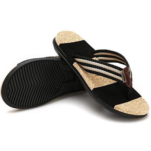 Homme Mode Casual Pantoufles Toe A Respirant Rayures De Tongs Clip Sandales Plates Antidérapant Plage Marron Chaussons aYqIar