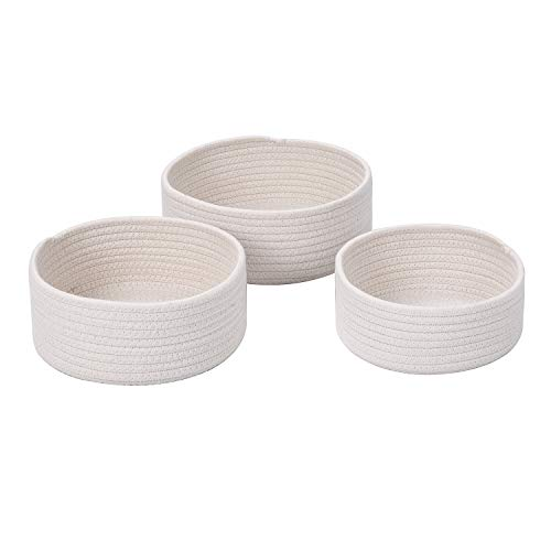 SHINYTIME 3-Pcs Ideal Storage Baskets Bins Desk Organizer for Home Living Room Closet (White-3pcs) ()