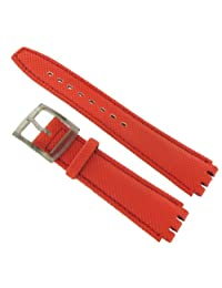 17mm Milano WB Genuine Calfskin Leather Kevlar Coated Stitched Red Watch Band fits Swatch