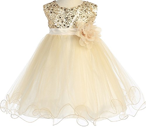 gold and cream flower girl dresses - 1