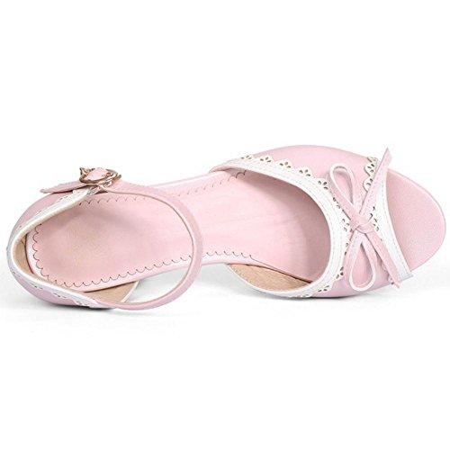 Coolcept Mujer Peep Pink Sandalias Tacon Toe Medio z6zOqTw