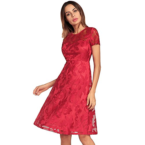 Girocollo Vestito Delle Da Pizzo Red1 Eleganti Altalena Abiti Retrò Floreale Lunga Manica Partito Di Donne Kemosen Estate Convenzionale Sera Di 00rqwZ
