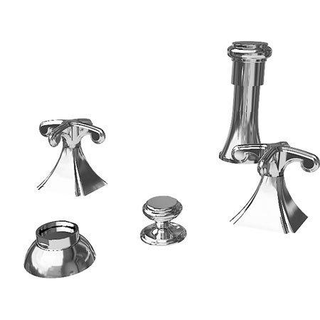 Newport Brass 2529/24A Kiara Vertical Spray Double Handle Bidet Faucet with Metal Cross Handles, French Gold (Spray Brass Vertical Bidet)