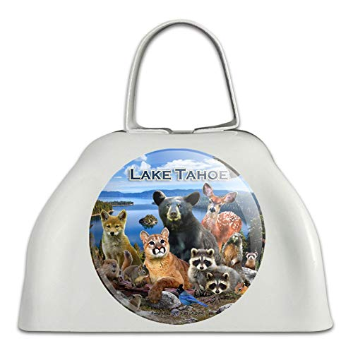 - Lake Tahoe California CA Nevada NV Animals Bear Cougar Deer White Metal Cowbell Cow Bell Instrument
