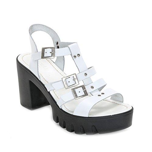 OBSEL: by Scarpe&Scarpe - Sandalias altas con hebillas y tachas, de Piel, con Tacones 9 cm Blanco