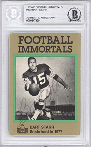 Bart Starr Autographed 1985 Football Immortals Card #108 Green Bay Packers Beckett BAS #10447920