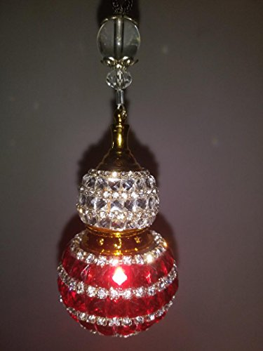 Hanging premium jeweled essential oil air diffuser (oil not included) (red)