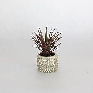 Time Concept Decor Imitation Miniature Plant Ceramic Owl Pot - Artificial Indoor/Outdoor Houseplant 98