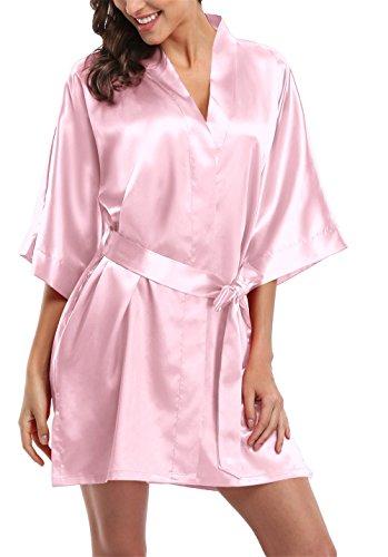 - Giova Pure Color Satin Short Silky Bathrobe Sleepwear Nightgown Pajama,Baby Pink,Small