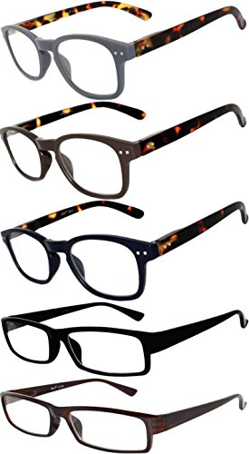 Readers 5 Pack of Elegant Womens Mens Reading Glasses with Beautiful Patterns for Ladies and Gentlemens Deluxe Spring Hinge Stylish Look 180 Day Guarantee - Price Online Glasses Low