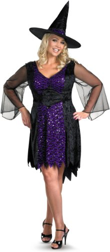 Disguise Women's My Brilliantly Bewitched Women Plus Size Costume, Black, X-Large (Woman Witch Halloween Costumes)