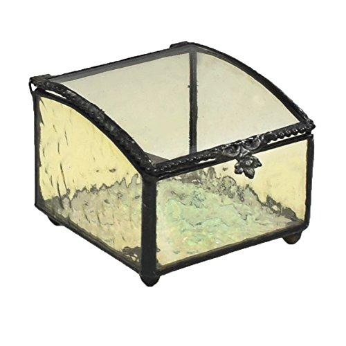 J Devlin Box 717-5 Vintage Jewelry Box Curved Glass Top Pale Yellow Keepsake Gift Trinket Box -  J Devlin Glass Art