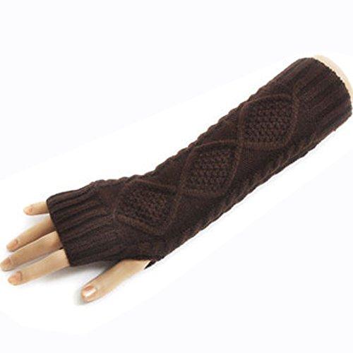 Butterme Frau Lady Gestricktes Wolle lange Fingerless Handschuhe dehnbar Armlinge Knitting Patterns Daumenloch Kaffee