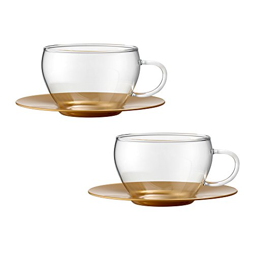 Bohemia Cristal 093012105Play of Colors Borosilicate Glass Set of 2Coffee/Cappuccino Cup with Saucer Plastic Tumbler, Glass, Gold, 100x 100x 6cm 2Units