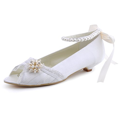 ElegantPark EP41021 Peep Toe Mini tacón Satén Mujer Pearls boda noche fiesta zapatos Ivoire