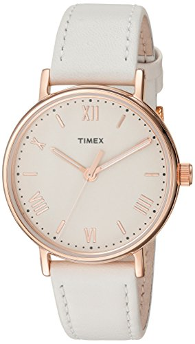 37mm Watch White Dial (Timex Women's TW2R28300 Southview 37 White/Rose Gold-Tone/Cream Leather Strap Watch)