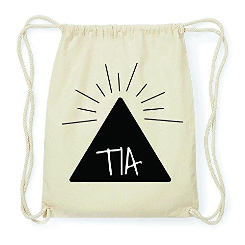 JOllify TIA Hipster Turnbeutel Tasche Rucksack aus Baumwolle - Farbe: natur Design: Pyramide