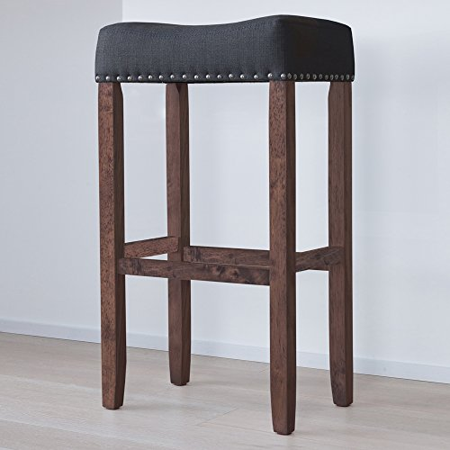 Nathan James 21405 Hylie Nailhead Wood Pub Height Kitchen Bar Stool, 29