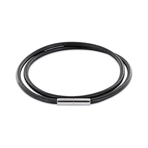 AURORIS Echtleder Kette schwarz Dicke 3mm mit Tunnel-Drehverschluss aus Edelstahl / Länge: 55cm