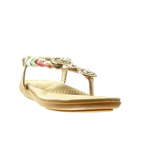 Angkorly - damen Schuhe Sandalen Flip-Flops - T-Spange - Schmuck - Geflochten flache Ferse 2 CM - Champagner t3irKt