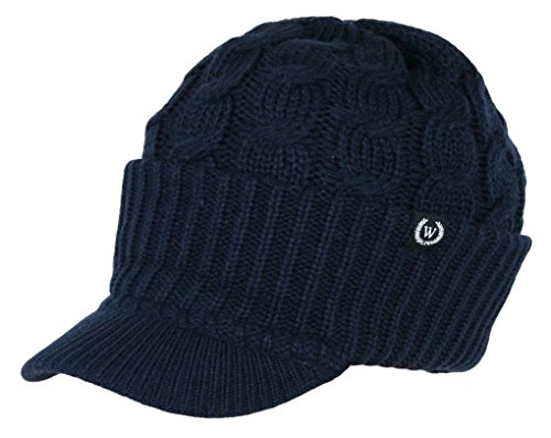 Winter Newsboy Cable Knitted Visor Beanie Bill Winter Warm Hat (Navy Blue)