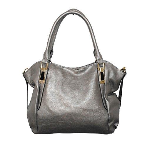 Miss Lulu New Fashion Casual Hobos Pu Leather Shoulder Bags Functional Handbag 1716 Silver