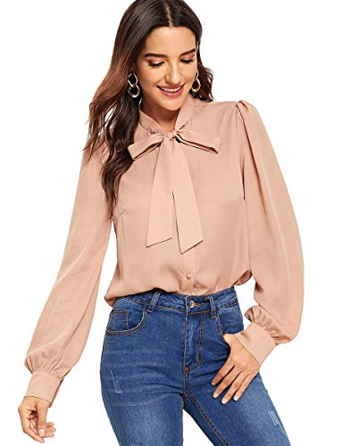 Romwe Women's Solid Elegant Bow Tie Neck Long Sleeve Work Office Blouse Top Apricot S