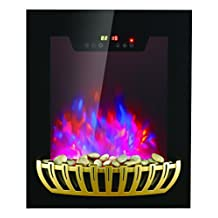 AKDY Tempered Glass Black Wall Mount 2 Setting Touch Screen 7 Color LED Flame Electric Fireplace Stove w/ Remote Control & Pebbles Set