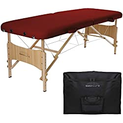 Saloniture Basic Portable Folding Massage Table - Burgundy