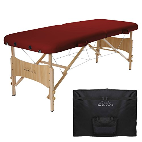 Saloniture Basic Portable Folding Massage Table – Burgundy