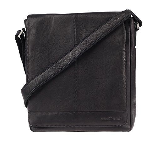 Greenburry Pure A4 Borsa a tracolla pelle 29 cm scomparto tablet Nero