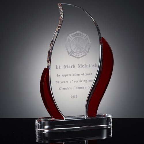 Awards and Gifts R Us 9 Inch Customizable Red Optical Crystal Flame Trophy Gift Boxed, Includes Personalization