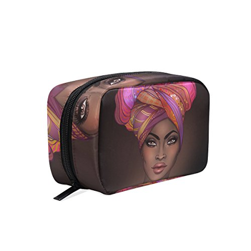 Makeup Bag Portable Travel Cosmetic Train Case African American Woman Toiletry Bag Organizer Accessories Case Tools Case for Beauty Women