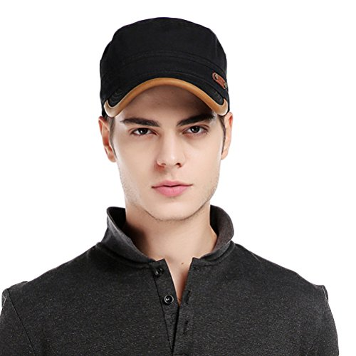 CACUSS Men's Cotton Army Cap Cadet Hat Military Flat Top Adjustable Baseball Cap(Black)
