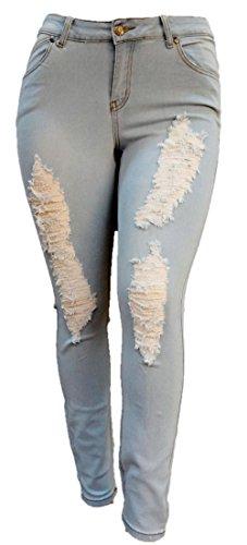 b249cea056288 Juniors Women s plus size BLUE  Black Denim JEANS Skinny Ripped Distressed  Pants