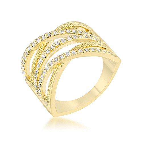 Solid Greta 0.57ct CZ 14k Gold Wide Cocktail Cable Ring