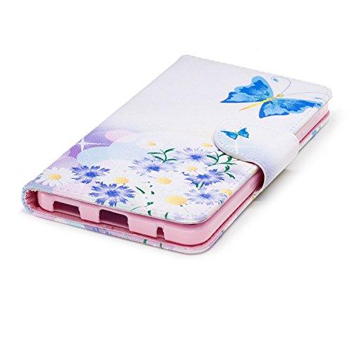 Funda para Nokia 6 2018 (Versión 2018) , IJIA Azul Mariposa TPU + PU Ranuras para Tarjetas de Crédito Flip Folio Caja [Estilo Libro,Soporte Plegable ] Cover Tapa Caso Parachoques Carcasa Cubierta para