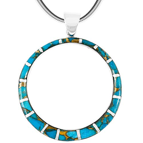 (Turquoise Necklace Pendant 925 Sterling Silver Genuine Gemstones (24