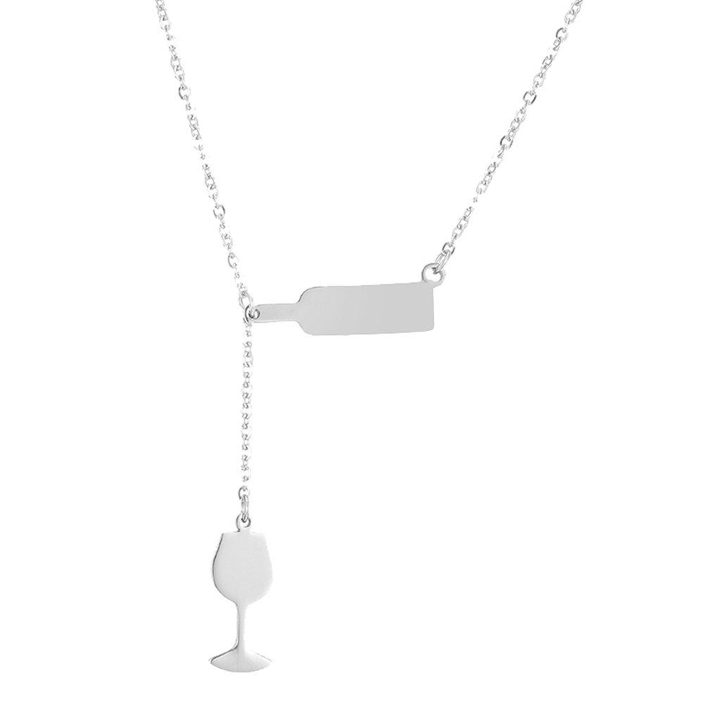 AOCHEE Bottle Wine Glass Pendant Y Necklace Jewelry for Women (Silver)