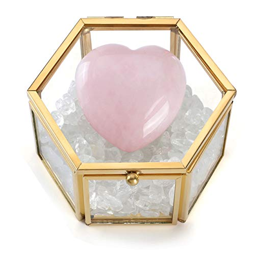 Jovivi Heart Puff Rose Quartz Chakra Stones & Clear Crystal Quartz Tubmled Gemstones in Clear Glass Lid Terrarium Box Jewelry Display for Wicca Crystals Healing Reiki Meditation Home Office Decor