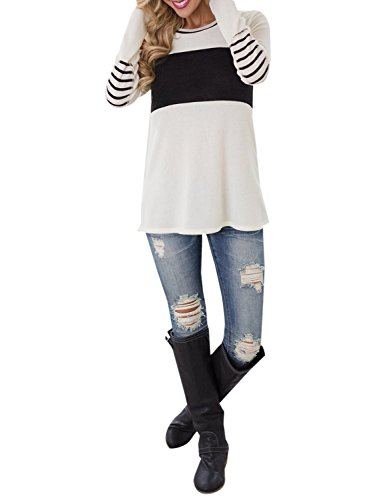 Blooming Jelly Women's Long Sleeve Round Neck Elbow Patched Color Block Stripe Shirt Tops (Small, White 2)