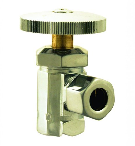 WestBrass D1021 PVD Polished Brass Angle Stop - 1/2 in. IPS x 1/2 in. OD Comp. -