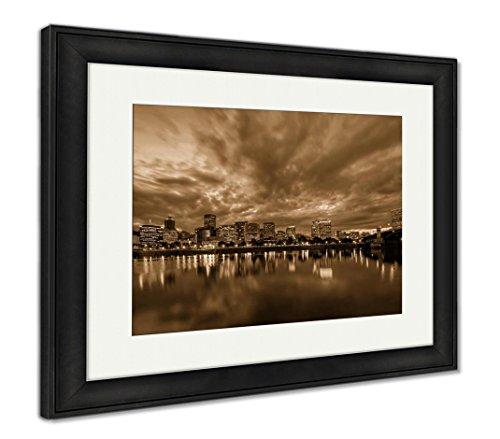 Ashley Framed Prints Portland Oregon Waterfront Skyline After Sunset, Wall Art Home Decoration, Sepia, 30x35 (Frame Size), Black Frame, AG6508177 ()