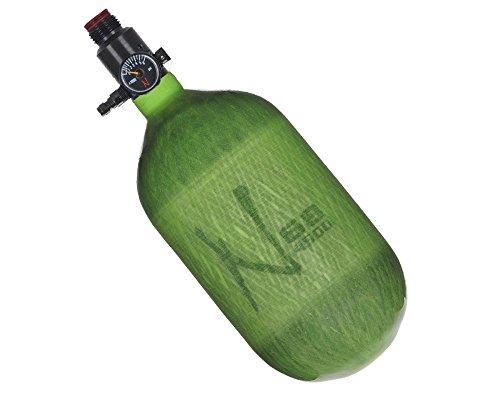 Ninja Paintball Compressed HPA Air Tank w/ Adjustable Regulator (ALL COLORS / SIZES) (68/4500 Carbon, Std Adj Reg, Translucent Lime, 68ci)