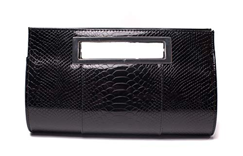 - Ilishop Women's Classic Crocodile Pattern Faux Leather Metal Grip Clutch (Black)