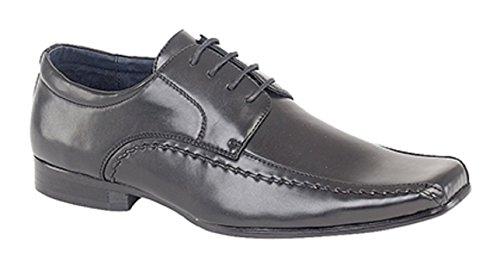 Garçons Chaussures noires Chisel Toe Lace Up Mariage Baptême formelle (infantile 13 - grand garçon 5.5)
