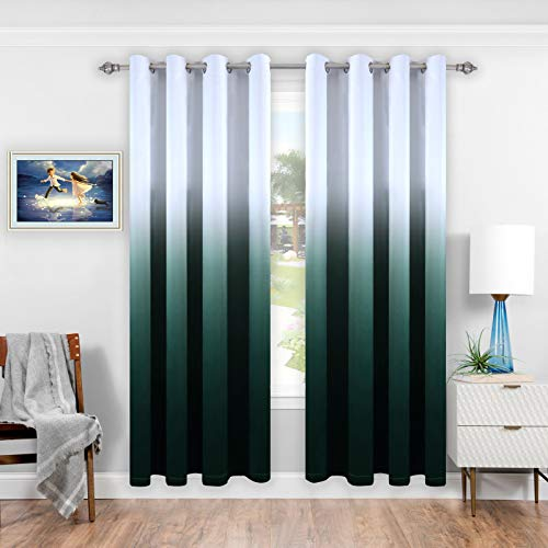 DONREN Green Gradient Color Blackout Curtains for Bedroom/Living Room Set of 2 Curtain Panels Ombre Thermal Insulated Grommet Window Drapes, 52