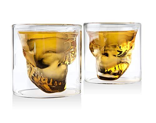 Whiskey Decanter Skull Set with 2 Cocktail Shot Glasses - for Liquor, Scotch, Bourbon or Vodka - 850ml by Godinger (Image #2)