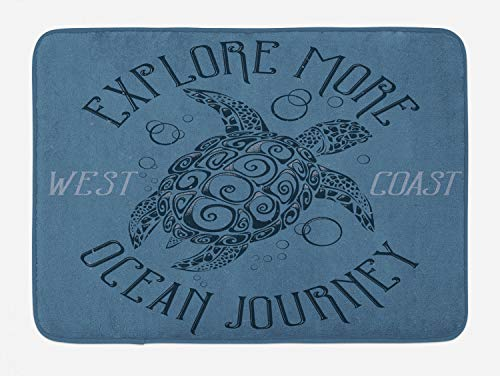 Ambesonne Vintage Nautical Tattoo Bath Mat, Explore More Ocean Journey Text Turtle Pattern, Plush Bathroom Decor Mat with Non Slip Backing, 29.5